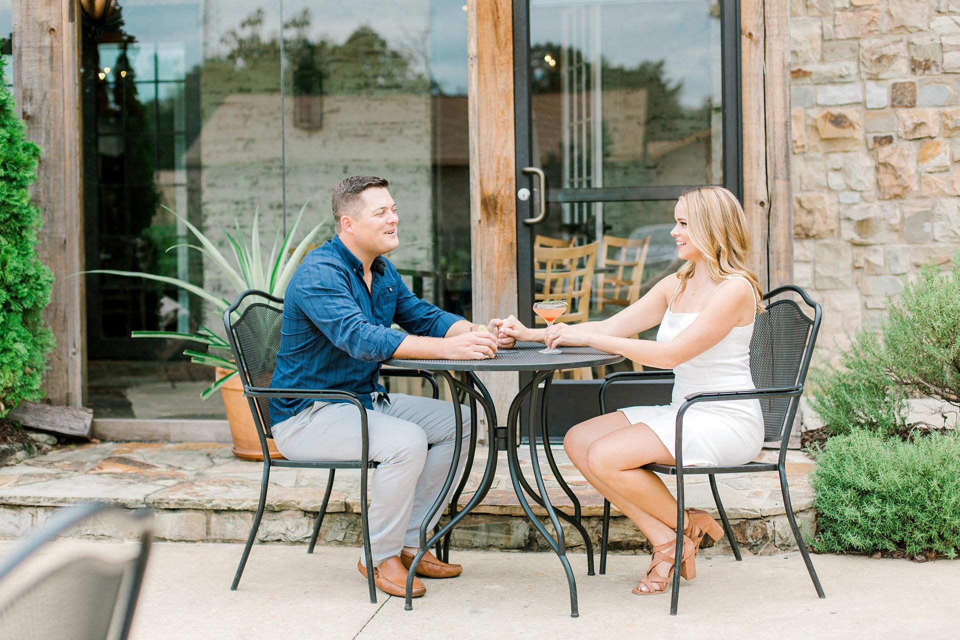 Josh + Jennifer Engagement Session at Acre Restaurant in Auburn, Alabama