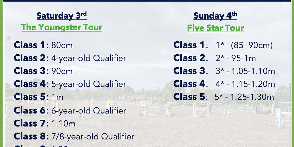 3rd and 4th July Youngster and Five Star Tour