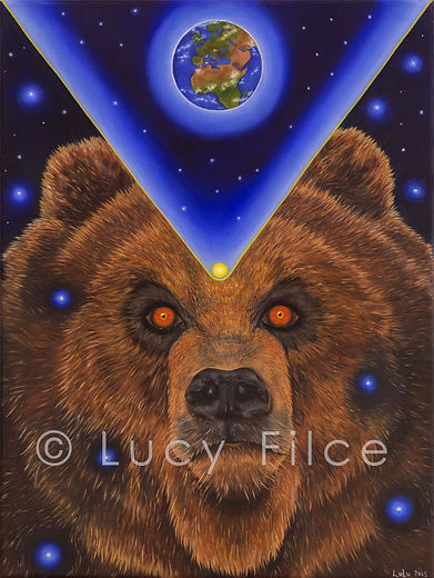 Visionary oil painting, Bear painting