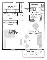 Historical Square 1 Bedroom Apartment Layout