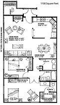 Ridgeview 2 Bedroom 1.5 Bath Apartment Layout