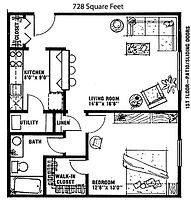 Ridgeview 1 Bedroom Apartment Layout