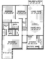 Historical Square 3 Bedroom Apartment Layout