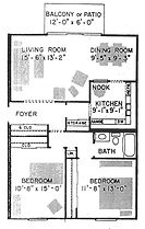 Historical Square 2 Bedroom Apartment Layout