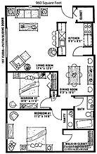 Ridgeview 2 Bedroom 1 Bath Apartment Layout