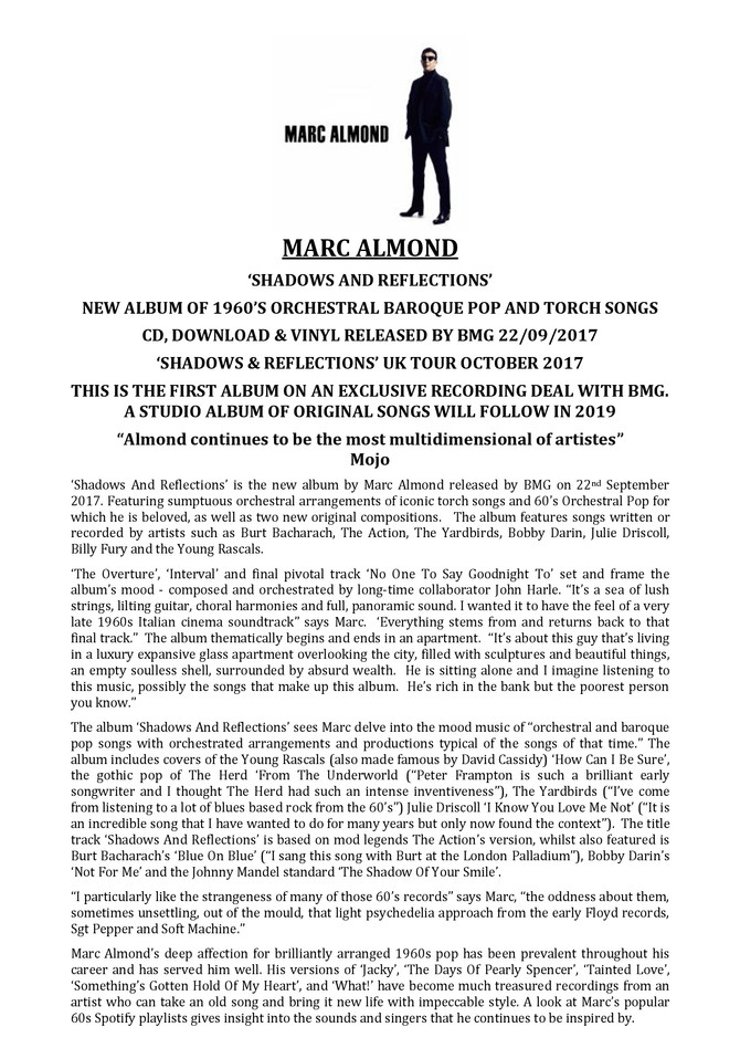 New Album from Marc Almond - Shadows and Reflections