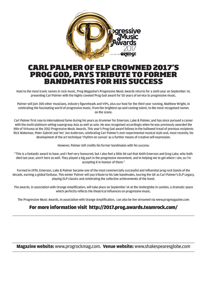 Carl Palmer of ELP crowned 2017's Prog God