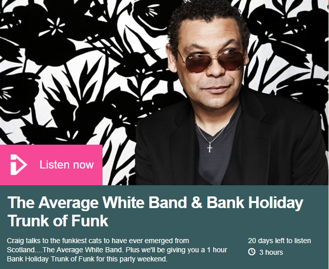 Listen back to the Hamish Stuart interview on the BBC 6 Music Craig Charles Soul & Funk Show from Saturday 26th August