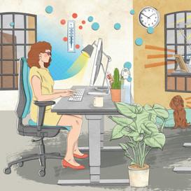 anne-mair-illustration-geo-wissen-gesundheit-ergonomie-arbeitsplatz-hund-computer-laptop-m
