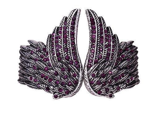 Hinged Angel Wing Bracelet - Purple Crystals