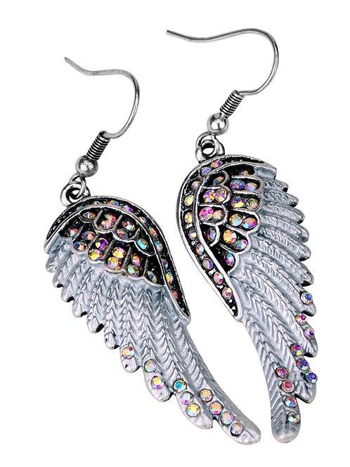 Crystal Angel Wing Dangle Earrings - Iridescent