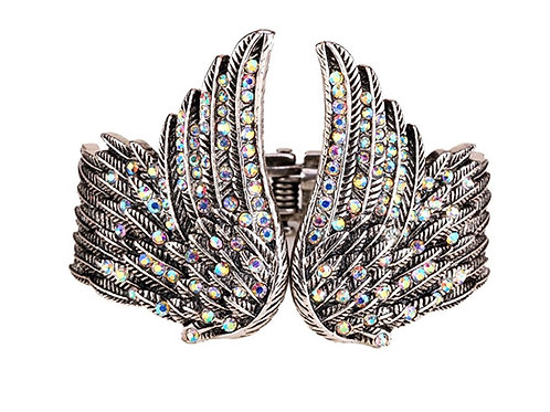 Hinged Angel Wing Bracelet - Iridescent Crystals