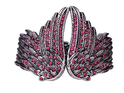 Hinged Angel Wing Bracelet - Pink Crystals