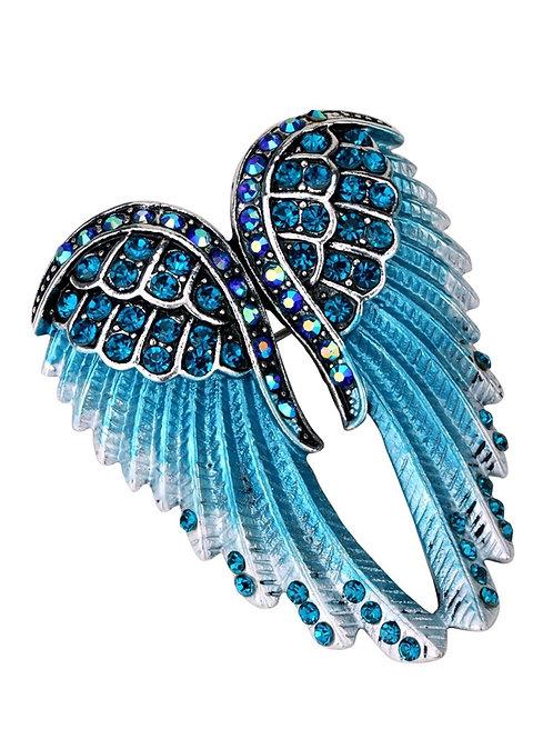 Crystal Angel Wing Pin/Pendant - Blue Cyrstals