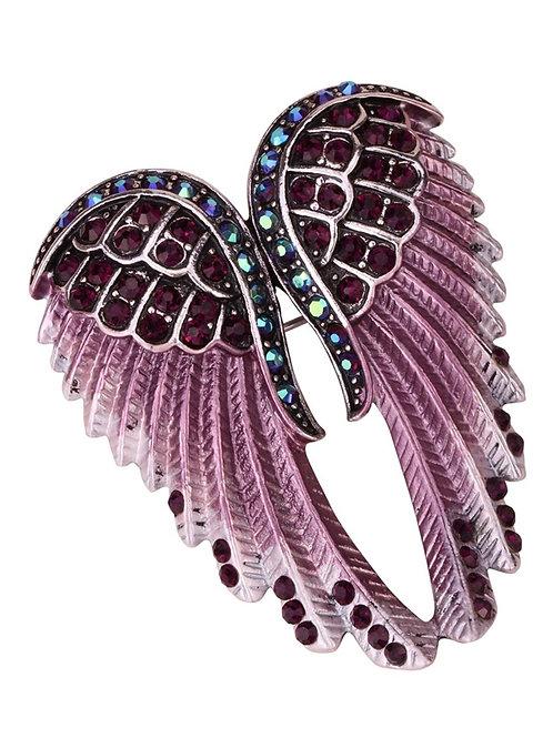 Crystal Angel Wing Pin/Pendant - Purple Cyrstals