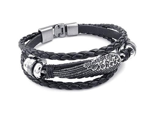 Black Leather Angel Wing Bracelet