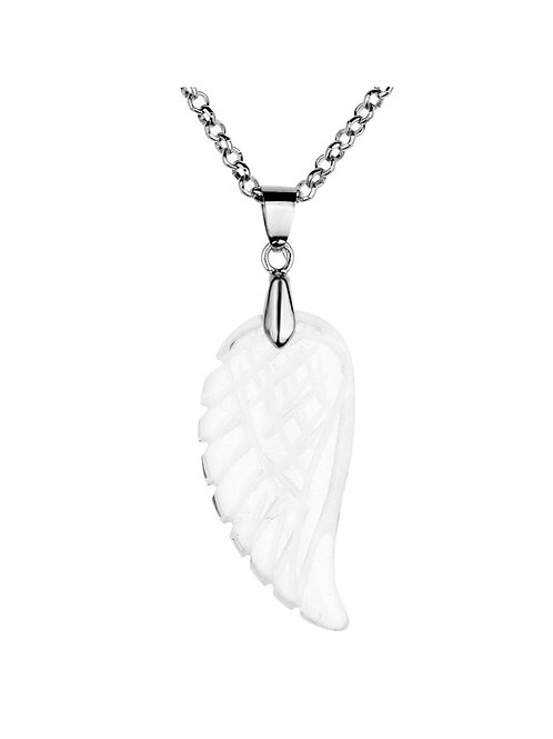 Gemstone Wing Necklace - Clear