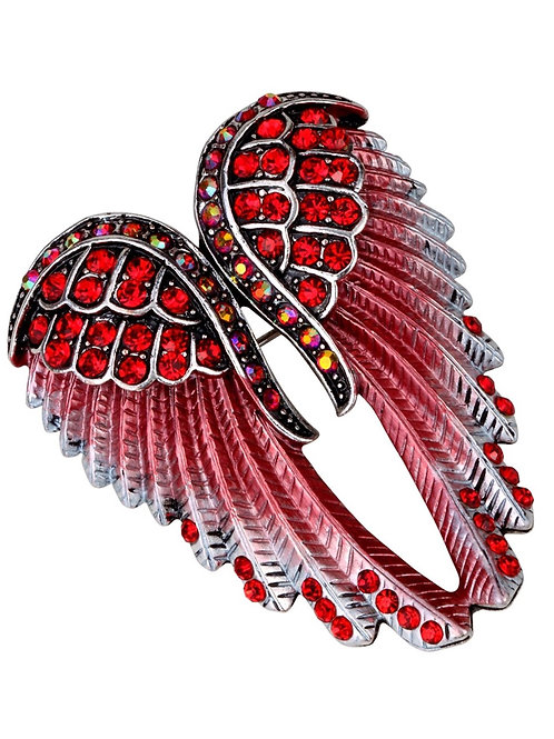 Crystal Angel Wing Pin/Pendant - Red Cyrstals