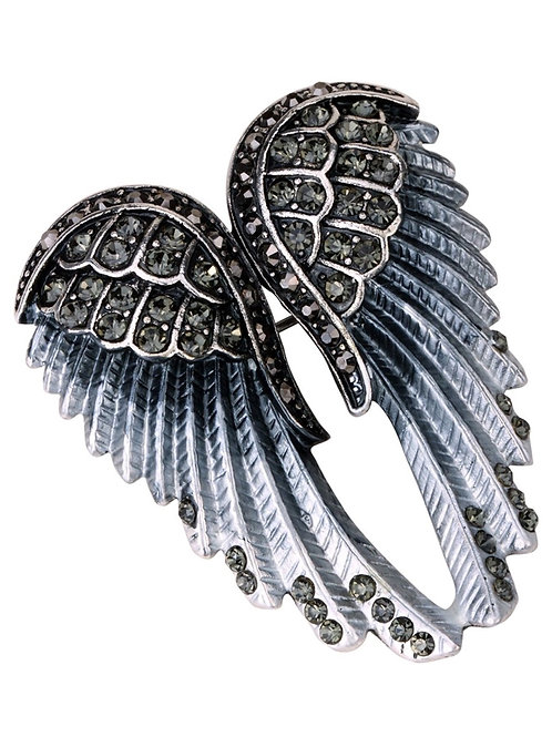 Crystal Angel Wing Pin/Pendant - Gray Cyrstals