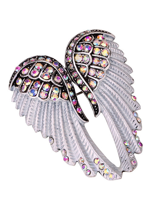 Crystal Angel Wing Pin/Pendant - Iridescent Cyrstals