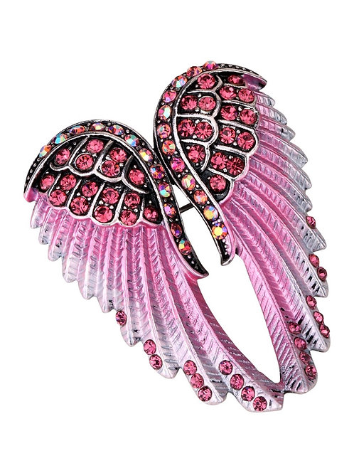 Crystal Angel Wing Pin/Pendant - Pink Cyrstals