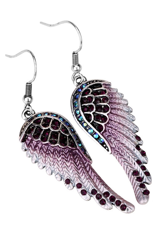 Crystal Angel Wing Dangle Earrings - Purple