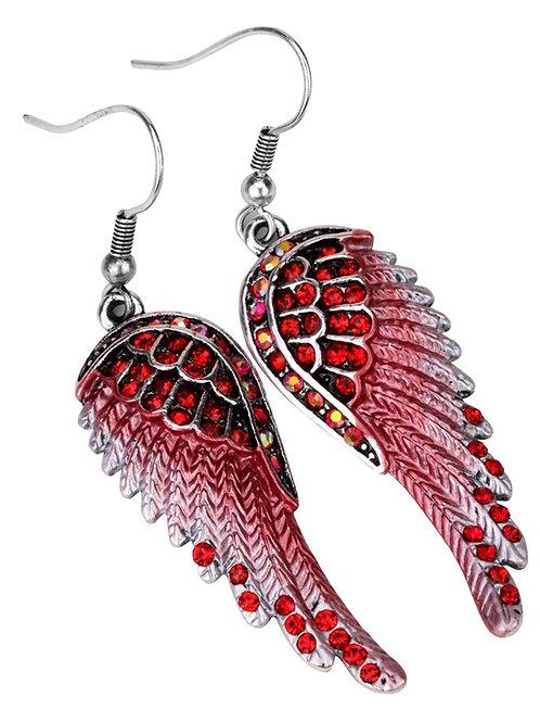Crystal Angel Wing Dangle Earrings - Red