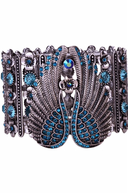 Stretch Cuff Angel Wing  Bracelet - Blue Crystals