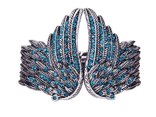 Hinged Angel Wing Bracelet - Blue Crystals