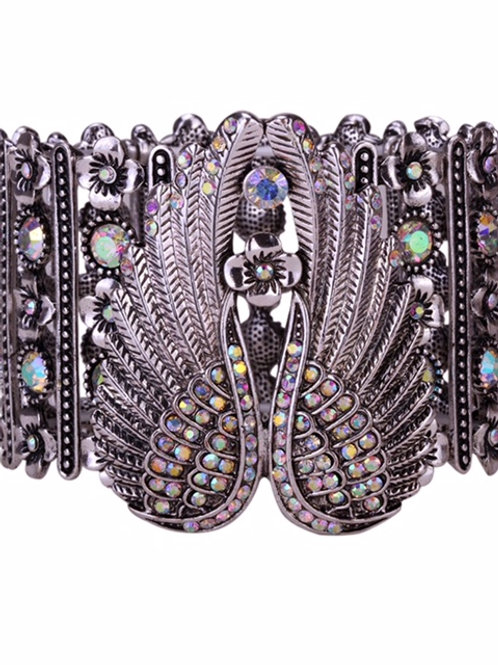 Stretch Cuff Angel Wing  Bracelet - Iridescent Crystals