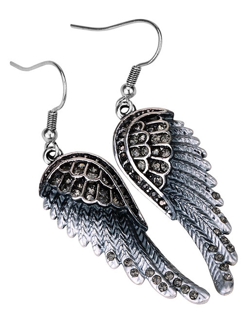 Crystal Angel Wing Dangle Earrings - Gray