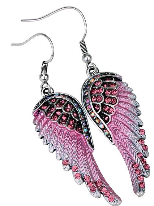 Crystal Angel Wing Dangle Earrings - Pink