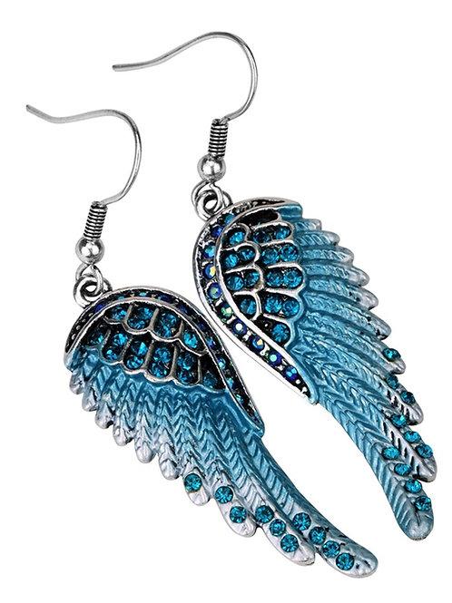 Crystal Angel Wing Dangle Earrings - Blue