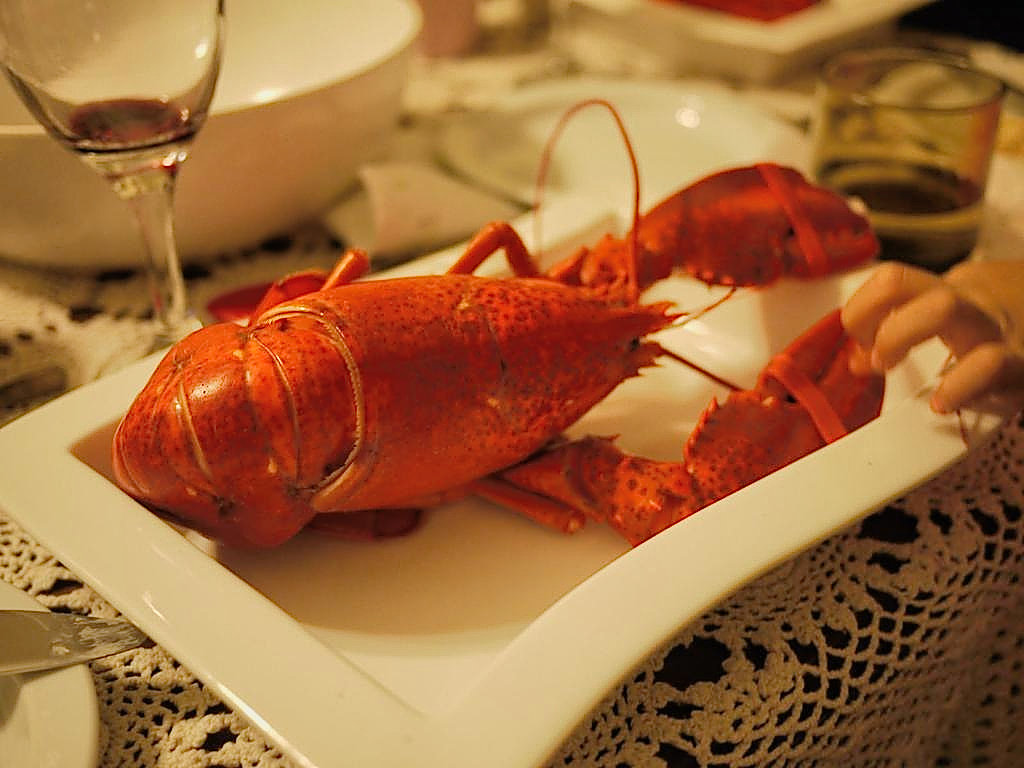Fresh boiled lobster on the table