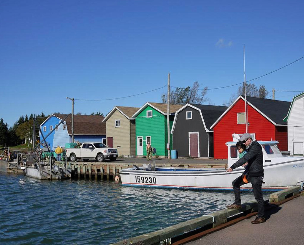Colourful local fish shacks