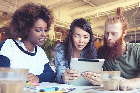 Os alunos com iPad