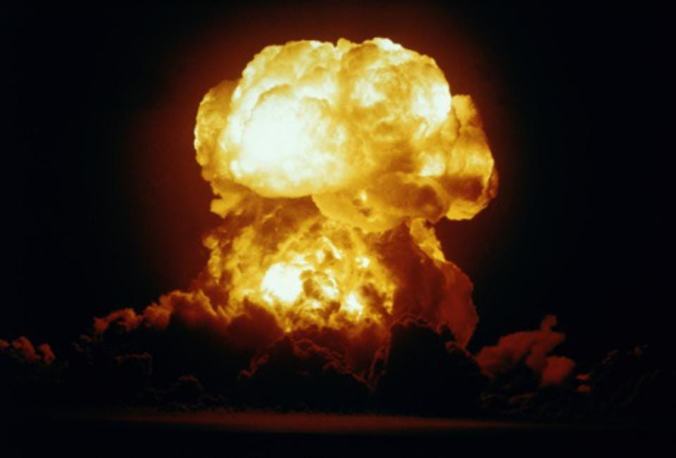 Nuclear Explosion Erupting in Fire