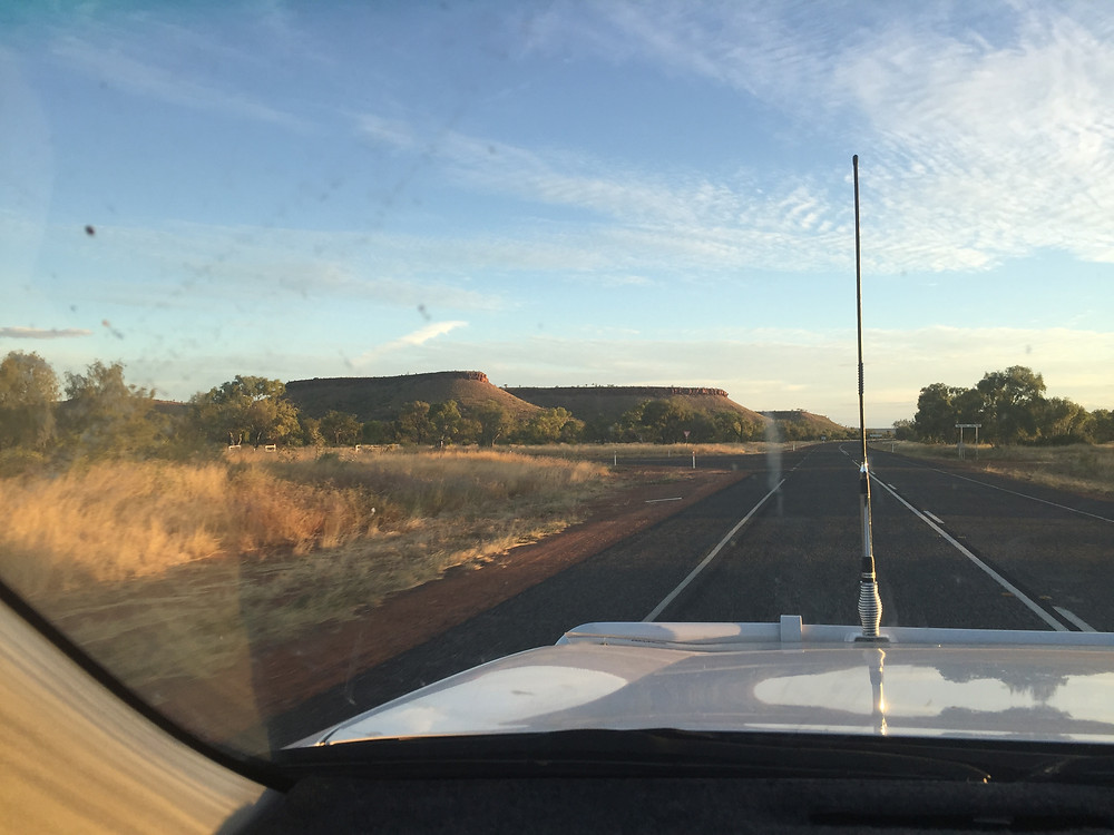 Views along the road - these table top mountains are about 100 kilometres north of Ti Tree on the Stuart Highway
