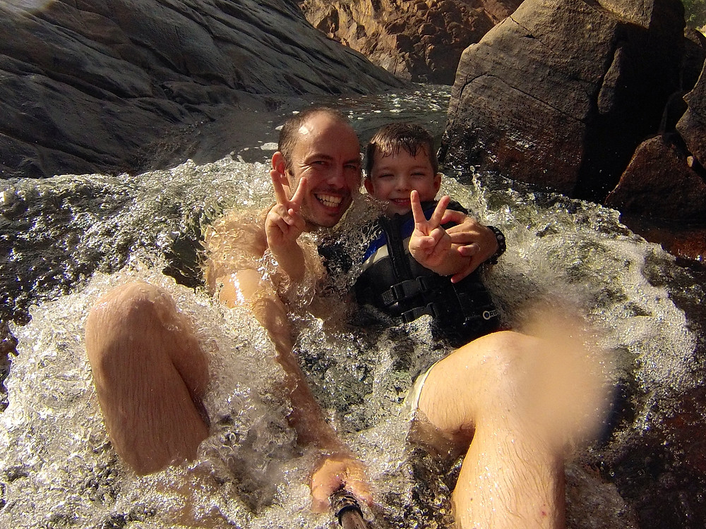 Sitting in the rapids for a selfie at the Upper Pools in Edith Falls, Nitmiluk National Park.