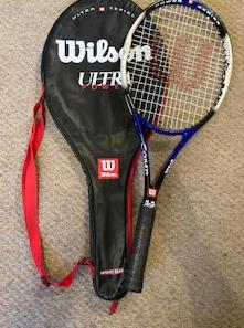 "Wilson Tennis Racket, with bag, 27"""