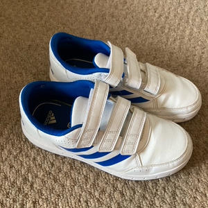 Adidas Blue and White trainers