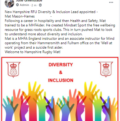 Mat Mason-Hames becomes Hampshire RFU Diversity and Inclusion Lead