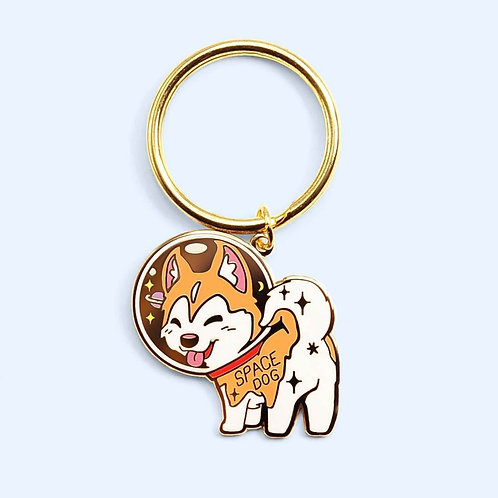 Space Dog Husky Enamel Keychain
