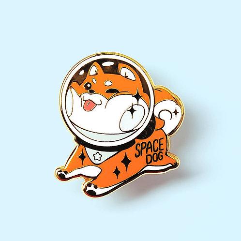 Red Shiba Inu Space Dog Enamel Pin