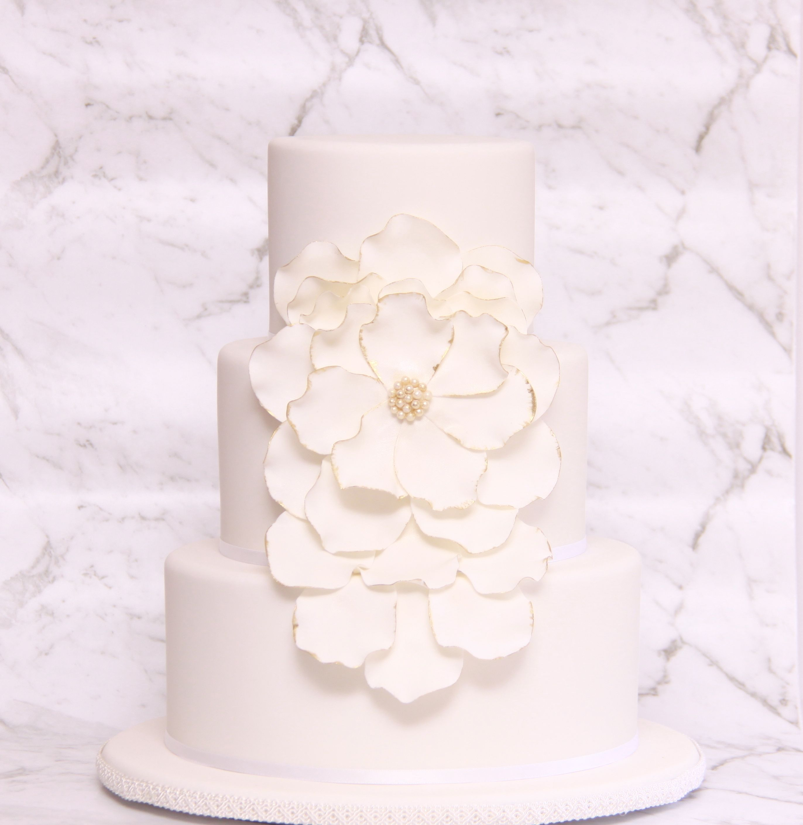 White Bliss with Gold Edges Wedding Cake