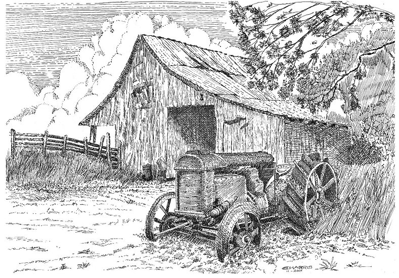 RUSTED TRACTOR AND THE OLD BARN