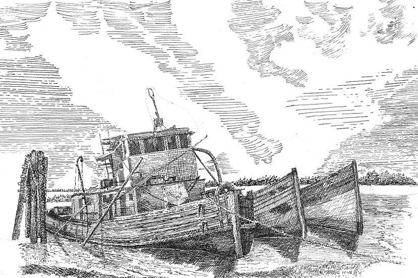THREE OLD ABANDONED BOATS,  MOORED