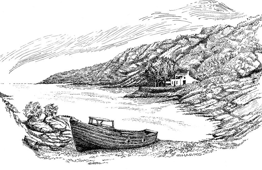 BOAT PULLED on SHORE - HOUSE on the HILL