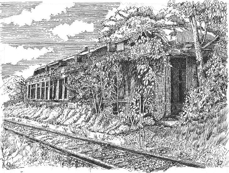 ABANDON TRAIN SERVICE CAR - NEXT to RAILS