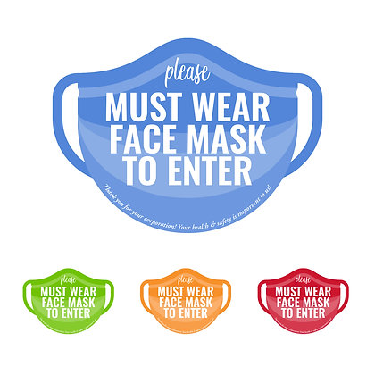 """Must Wear Face Mask To Enter"" Mask-shape Cling Sign: packages of 5, 10 or 25"
